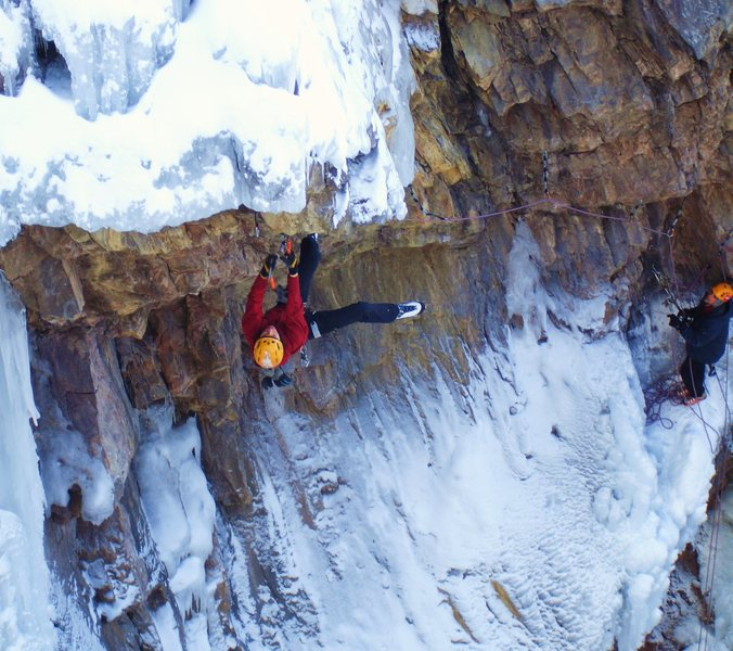 Ines in competition at the Ouray Ice fest in 06.