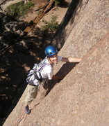 Rock Climbing Photo: Tristan, age 14, leading Reefer Madness.