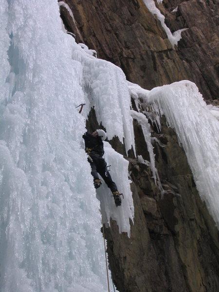 "Leading ""Le Pissoir"" at the Ouray Ice Park '04."