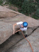 Rock Climbing Photo: Tristan near the top of Classic Dihedral.