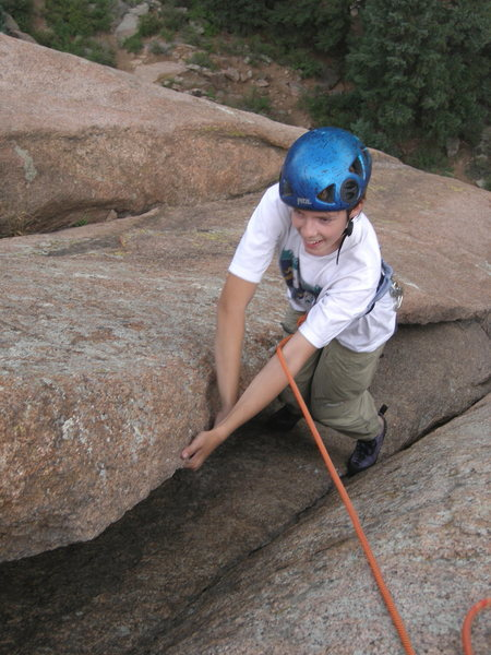 Rock Climbing Photo: Enjoying the lieback near the top.