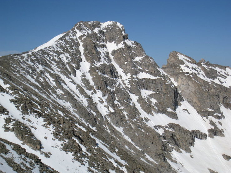 The 1,500-foot northeast face of Paiute Peak from the north slopes of Mt. Audubon. The Ghost Dancer Couloir takes the central line on the face (the right-hand of two prominent couloirs).