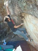 Rock Climbing Photo: Gary Carns in the action during a 90 degree F boul...