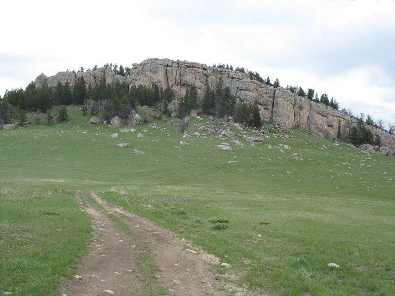 The cliff seen from the approach road.