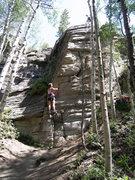 Rock Climbing Photo: Lauren following Big Mac Crack.