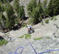 Rock Climbing Photo: Looking down P1, Mike almost to the belay.  I went...
