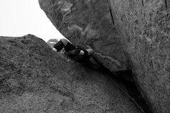 Rock Climbing Photo: Gallagher using his thug like strength.