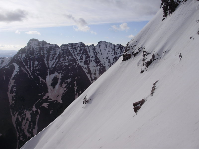 Pyramid Peak as seen from the Bell Cord Couloir across the valley.