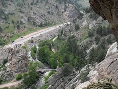 Rock Climbing Photo: Scenic view looking down from the 1st belay statio...