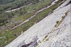 Rock Climbing Photo: David searching for holds above the overlap on Spa...