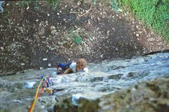 Rock Climbing Photo: Tim seconding up Elgin's Crack