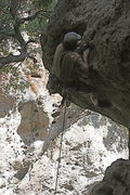 Rock Climbing Photo: Nathan on Chimps Ahoy just starting the roof. 6-7-...