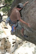 Rock Climbing Photo: Nathan on Chimps Ahoy on the roof. 6-7-0