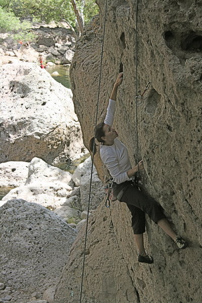 Agina on Chimps Ahoy working the crux section.<br> 6-7-0