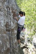 Rock Climbing Photo: Agina on Moonshiner. 6-7-09