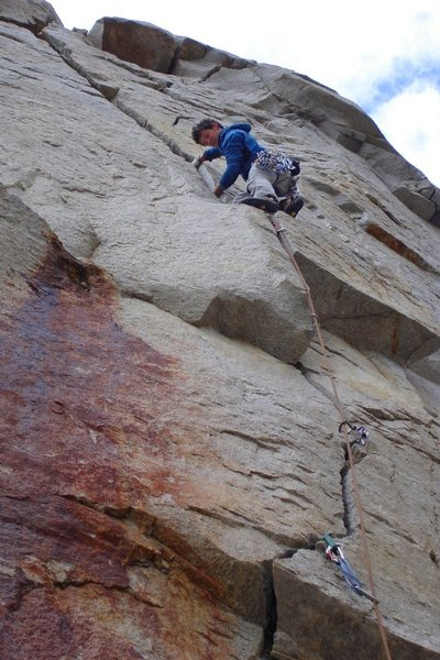 Greg Jackson in thin hands just past the first crux