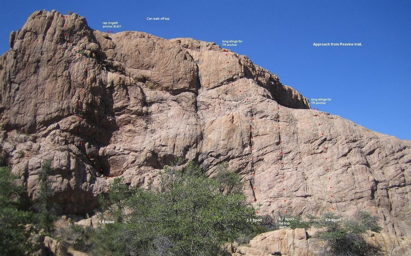 If anybody really knows what's going on here, feel free to post up. This is just my opinion. I think it's a decent place to go to once. The tall climb on the far left is worth repeating.