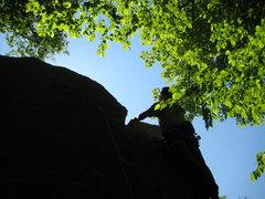 Rock Climbing Photo: Chris passing the crux.