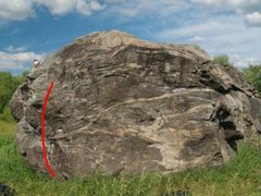 Rock Climbing Photo: The line in red is 'Dank Nugs'