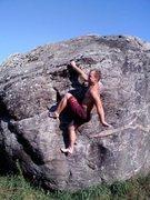 Rock Climbing Photo: Luke finishing out 'Dank Nugs' Bernt Arnold style.