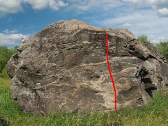 Rock Climbing Photo: The line in red is 'Beehive'