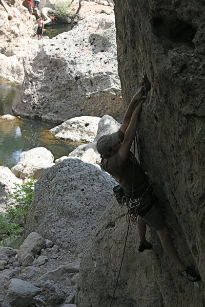 Nathan working the crux on Chimps