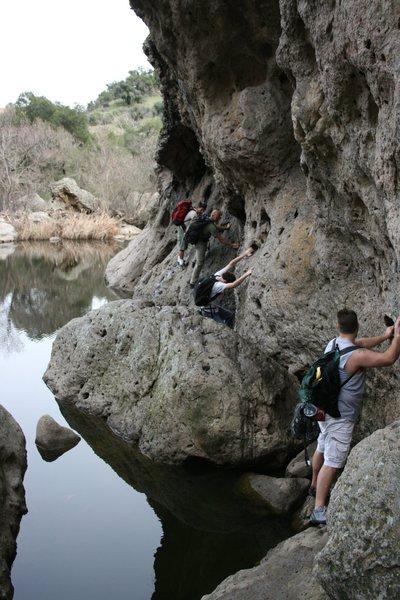 The traverse over to Stumbling Blocks area - Malibu Creek