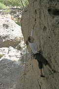 Rock Climbing Photo: Me working the crux on Chimps..