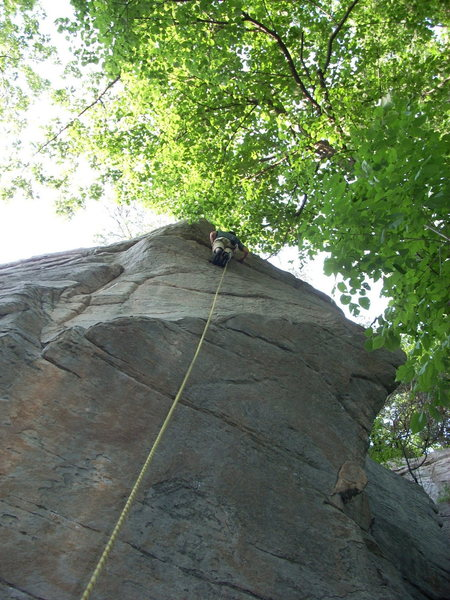 The route climbs slightly left of the rope in this pic to the lip. Then follows the rope directly to the top.