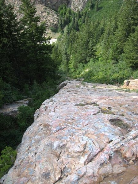 Looking down the Mineral Slab to the creek and road in Big Cottonwood Canyon.