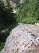 Rock Climbing Photo: Looking down the Mineral Slab to the creek and roa...