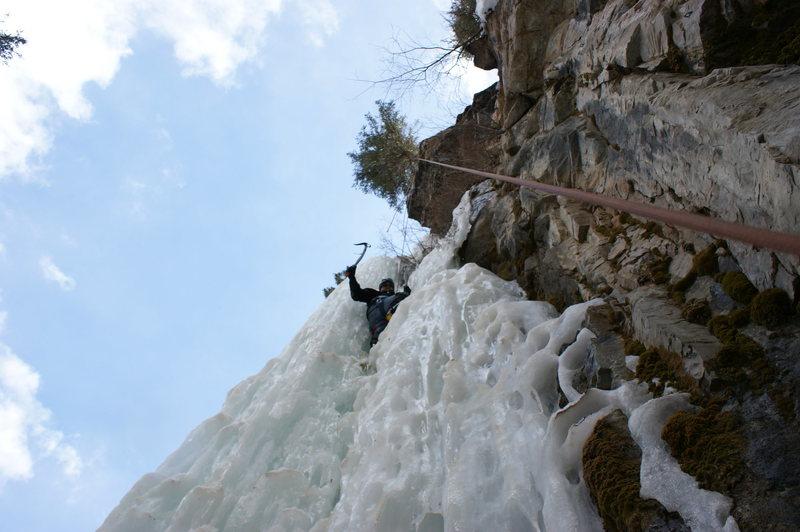 Rock Climbing Photo: Drew on the main flow, Cascade Canyon.