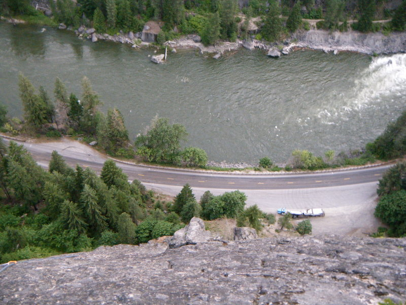Looking down Midway to the South Face Tower and the Wenatchee River