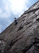 Rock Climbing Photo: Cruising the well protected slab.