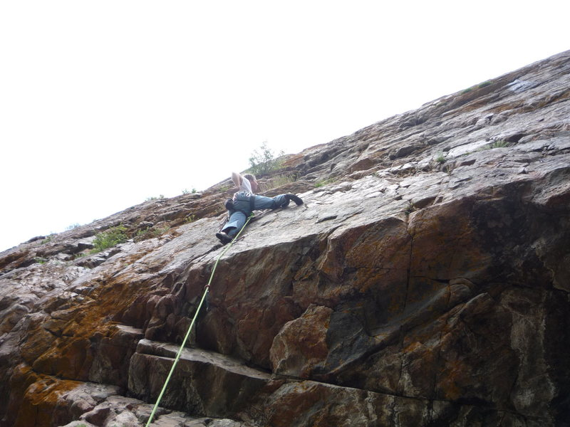 Rock Climbing Photo: Just above the crux pull over the roof.