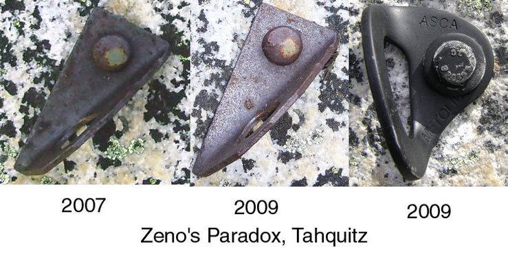 Rock Climbing Photo: Zeno's Paradox lower bolt. Notice the corrosion gr...