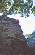 Rock Climbing Photo: Simon running it way out on the final overhang of ...