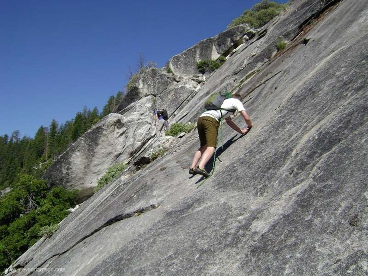 A little bit of soloing to warm up on the approach to snake dike.  This probably isn't the easiest approach (5.7 friction traverse)