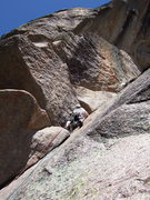 Rock Climbing Photo: Party of three headed up Bat Crack (8) linking wit...