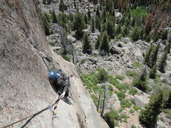 Rock Climbing Photo: Looking down at P2.  Photo by Jeff G.