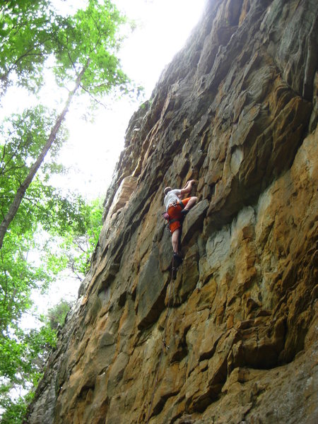 Greg T. working up a sport route at Yellow Bluff