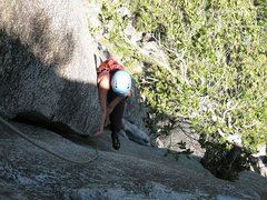 Rock Climbing Photo: Lauren stabs a foot as she laybacks past the off-h...