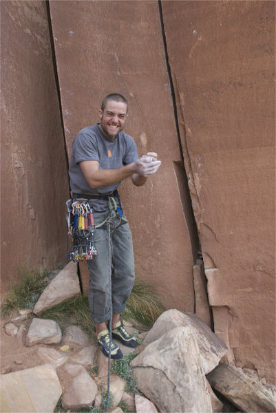 Rock Climbing Photo: No job but climbing cracks. This is a picture of a...