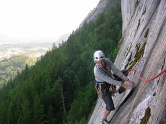 Rock Climbing Photo: Looking for the dry foothold to finish P2.