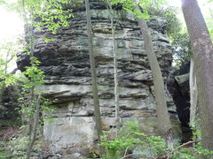 Rock Climbing Photo: The Entrance Block, main Face.  Left to right:  Pu...