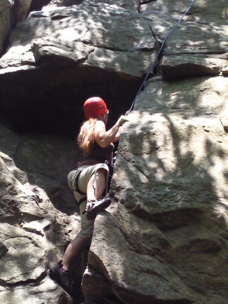 Rock Climbing Photo: KJ in the corner searching for a large furry spide...