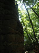 Rock Climbing Photo: kinda dark photo but the route is just on the aret...