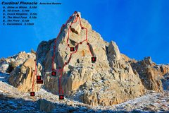 Rock Climbing Photo: Cardinal Pinnacle Topo