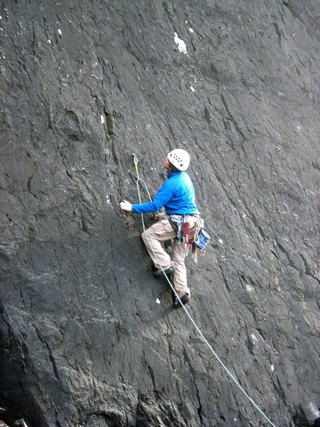 Rock Climbing Photo: Tom Ogden contemplating the thin moves at the star...
