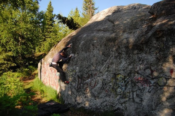 Climbing at the Service Boulder in Anchorage